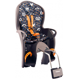 HAMAX KISS REAR FRAME MOUNT CHILDSEAT: GREY/ORANGE ANIMALS PRINT